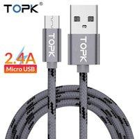 새로운 도착 Topk 마이크로 새 USB 케이블 2.4A 빠른 데이터 동기화 케이블 케이블 Andriod MicroUSB Samsung Xiaomi LG FY7416 용 휴대 전화 케이블