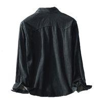 Мужские повседневные рубашки Brother Wang бренд весенний черный джинсовая рубашка 100 хлопок мода тонкий с длинным рукавом мужская одежда P1C4