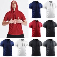 Homens Grande Solto Luva Luva Luve Muscle Le Fitness Running T Shirts Hooded Mon Bolso Rápido Secagem Roupa de Treinamento de Basquete Respirável