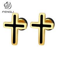 Stud FENGLI Romantic Small Gold Silver Cross Lovely Shape Earrings Women Party Girlfriend Gift