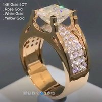 Cluster Rings 14K Rose Gold 4 Moissanite Diamond Ring Men Asscher Cut Luxury Square Wedding Party Engagement Anniversary D Color