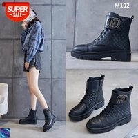 [in stock]Martin boots small fragrance 2020 autumn short tube thick bottom round head trendy rhombus all-match black M102 #Pe8N