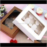 Embalagem janelas caixas de cupcake branco branco caixa de papel caixa embalagem de presente para festival de casamento 6 titulares de bolo de copo personalizado 4mw sg2fz