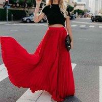 Z-Z-ZOUX Frauen Rock Hohe Taille Plissee Lange Röcke Schwarz Rosa Weiß Rot Alles Spiel Vintage Plissee Röcke Frauen Kleidung Sommer 210330