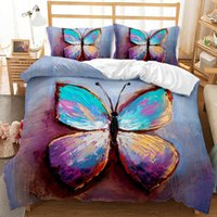 Three-Piece Butterfly Series Bedding Sets Elegant King Queen Size Quilt Cover Pillow Case Duvet Bed 3D Digital Printing Quilt-Cover