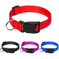 Fashion Nylon Dog Collars Can Adjustable Pet Outdoor Webbing Necklace For Small Medium Cats 4 Colors And Size & Leashes