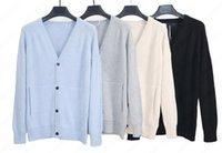 Мужские дизайнерские роскошные свитера Ribled V-образным вырезом Высокий вязкий трикотаж Свитер для пар для пар