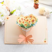 Greeting Cards 3D Sun Flower Card Birthday For Women Thank You Gifts Anniversary Christmas Fathers Day Gift With Envelope