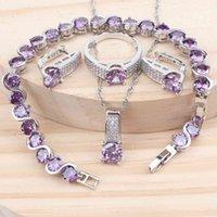 Frauen Luxus Brautschmuck Sets 925 Silber Lila Kubikzirconia Hochzeit Kostüm Armband Ringe Ohrringe Anhänger Halskette Set