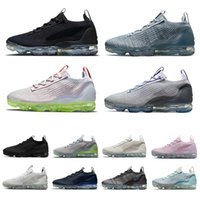 Nike Air VaporMax 2021 Fly Black Anthracite Knit Mesh 남성 운동화 Triple white Metallic Silver Oatmeal Oreo 남성 여성 야외 운동화 스포츠 운동화