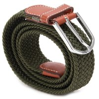 Belts Fashion Men Elastic Knitted Belt Metal Buckle Waist Strap High Quality Military Army Tactical 6 Colors