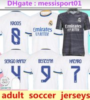 Real Madrid Jerseys 21 22 Camisa de fútbol de fútbol MBAPPE Alaba Hazard Sergio Ramos Benzema Asensio Modric Marcelo Vinicus JR Casemiro Camiseta Men + Kit Kit 2021 2022
