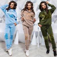 Piece Two Tracksuit Women Set Autumn Clothes Fleece Hoodies Sweatshirt Top and Pants Jogger Suit Female Velvet Patchwork Outfits1