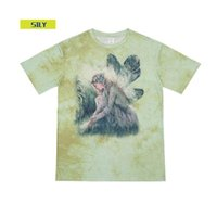 Kravat-Boya Kısa Kollu T-shirt Hip-Hop Gevşek Harajuku Tarzı Kısa Kollu Çift Degrade Kadın Elf Baskılı Üst Erkekler T-Shirt