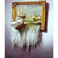 Взрослые ремесла абстрактные живопись лодка драгоценные камни вышивки стежка украшения стены краска DIY полные сверла вышивка бриллиант