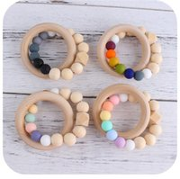 INS DIY baby silicone Teethers Candy Color beads Circle Teething Ring Infant Wood