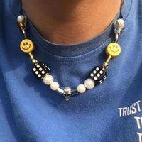 Punk hiphop pearl smiley visage crâne chanceux morceaux perles colliers fashion streetwear corde ajustable couker bijoux unisexe