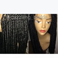 Hotselling Frontal Lace Wig Black Synthetic braided Wig Heat Resistant box braids wig For African American
