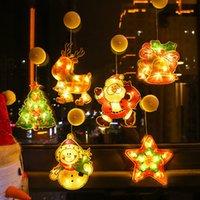 LED Boże Narodzenie Decoration Sucker Light Santa Claus Christmass Drzewo Elk Pięcioksiężne Gwiazdowe Bells Snowman