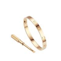 Kärlek Skruvarmband 5.0 Designer Armband Lyx Smycken Kvinnor Bangle Titanium Steel Alloy Guldpläterad Hantverk Guld Silver Rose Aldrig blekna Ej allergisk