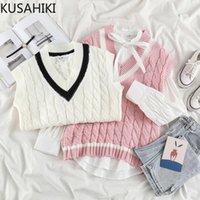 Kusahiki Koreanische gestreifte Hit-Farbe V-Ausschnitt Strickweste Kausal Sleeveless Frauen Pullover 2021 Frühling New Pullover Wege 6E722