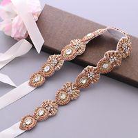 Hochzeit Schärpen Trixy S436 Exquisite Strass Gürtel Sash Diamant Blet Charming Bridal Rose Gold Indien Spitze Gürtel