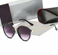 Высококачественные круглое стиль солнцезащитные очки сплава PU рама зеркальный стеклянный объектив для мужчин женщин двойной мост Ретро очки с пакетом 2447