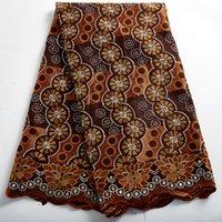 Zhenguiru New High Quality Brun African Lace Fabric 2021 Swiss Voile Fabric Cotton Nigerian Summer For Women Wedding Dress A2381