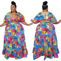 Summer Fashion Printing Women Sets Plus Size V Neck Short Sleeves Two Pieces Skirt Floor Length Casual Party Outfits 2021