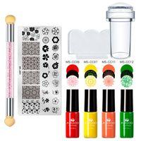 Nail Art Kits MSRUIOO Stamping Plates Set Polish Flower Geometry Pattern Template Kit Varnish Basic Stamp