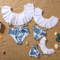 Women's Swimwear Swimsuit Women Bikini Set Parent Child Family Parent-child Scollop Leaf Edge Tankini Biquini Bathing Suit#35
