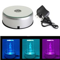 LED Night Lights Colorful Luminous Base Lamp Laser Rotating Crystal Display Stand Electric Light Round Displays Bases with Transparent Objects