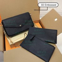 women embossed messenger bag fashion purse handbag original box 3pcs set high quality with serial number date code evening bags