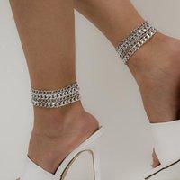 Europeisk metall tunn kedja anklet punk fyra bitar fot ornament satt för kvinnor strand parti guld silver anklets smycken sätter grossist