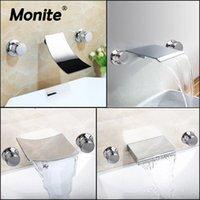 Baño fregadero Faucets Monite Sólido Brobete Bañera Cascada Tina Romana 2 Manijas 3 unids Grifo Mezclador Taps Filler Handshower Chrome