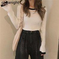 Maglioni da donna GAGANIGHT Elegante maglione a maglia maglione maglione elasticizzato design contrasto o-collo sottile 2021 caduta moda pullover coreano