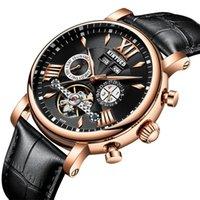 ساعات المعصم kinyued التلقائي الميكانيكية ووتش أزياء جلدية للماء الرجال ساعات الدائمة التقويم reloj هومبر هدية مربع التعبئة والتغليف