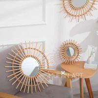 Decorative Flowers & Wreaths Rattan Wall Mirror Handmade Hanging Mirrors Bedroom Dressing Table Vanity Round Creative Manual