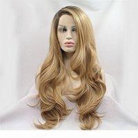 Фантазия красота длинная натуральная волна OMMRE коричневая блондинка синтетическая кружева передних париков боковая часть термостойкое волокна волос парики для женщин