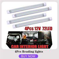Interioreksternal ışıklar 4 adet 72 led iç ışık şerit çubuğu araba van otobüsü karavan açık / kapalı anahtarı 12 V 12 volt 2021 okuma