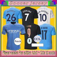 2021 2022 Manchester Fútbol Jersey 22 22 G. Jesús City Sterling Ferran de Bruyne Kun Agüero Camisetas de fútbol Hombre Uniforme Hombre + Kit Kids