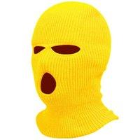 Full Face Cover Mask Three 3 Hole Knit Hats Winter Ski Cycling Masks Beanie Hat Scarf Warm Tactical CS army Balaclava hood sports snow cap equipment