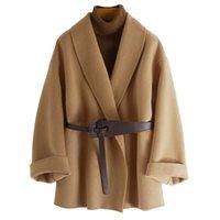 Women's Jackets CX-G-T-40 2021 Fashion Winter Wool Cashmere Coat With Belt