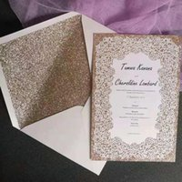 Greeting Cards Glitter Gold Wedding Invitation Laser Cut Lace Rose