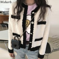 Women's Jackets Woherb Korean Fashion Sueters De Mujer Autumn Winter Sweater Coat O Neck Long Sleeve Knitted Cardigan Contrast Retro Casual