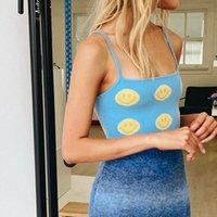 Women's Tanks & Camis Summer Y2k Aesthetic Sweet Street Sleeveless Slim Off Shoulder Smile Printed Blue Knit Cute Soft Women Crop Camisoles