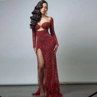 Modest Red Sequine Prom Dresses Side Split Feather Cocktail Party Gown Sheer Neck Long Sleeve Glitter Evening Wear