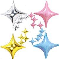Dört Sivri Yıldız Alüminyum Folyo Balon Karikatür Doğum Günü Partisi Şarap Cam Dekorasyon Balonlar Düğün Malzemeleri Noel FWB7509