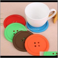 Other Kitchen, Dining Bar & Garden Drop Delivery 2021 Sile Button Cup Cushion Holder Drink Tableware Coaster Mat Pads Cute Colorful Kitchen D