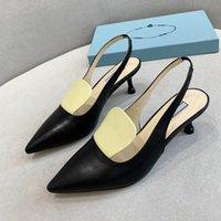 Luxus aus echtem Leder Sommersandalen Mode Marke Frauen Maultiere Spitzhecke Ferse Höhe 5 cm Größe 35-41 Modell AI01